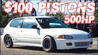 500HP Turbo Civic on 30PSI (D-Series Budget Build) + 800HP Honda vs 850HP Supercar PHOTO FINISH!