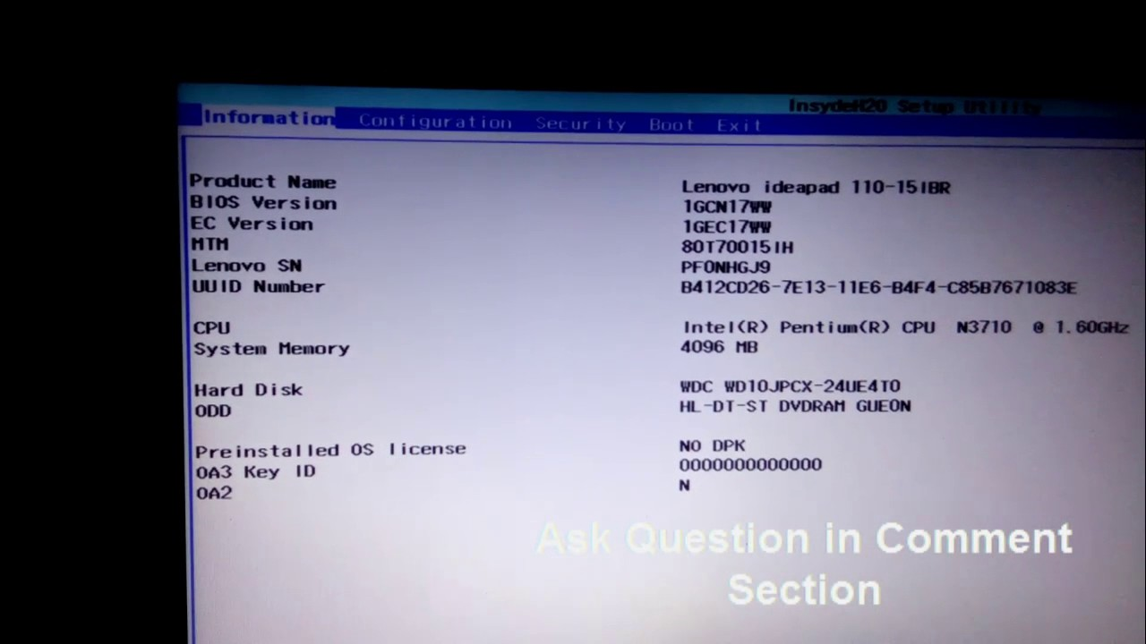 Lenovo Ideapad 110 boot menu & Boot Manager BIOS Option