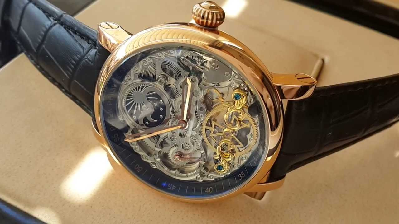 0314f43fc7a Patek Philippe Skeleton Black Gold Automatic 2014 - YouTube
