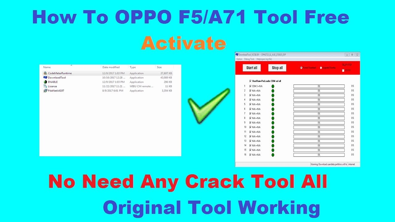 How To OPPO F5/A71 Tool Free Activate(DownloadTool and MsmDownloadTool)