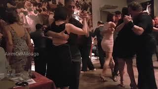 Dancing tango at Salon Canning with tango orquestra Rojo Rubi