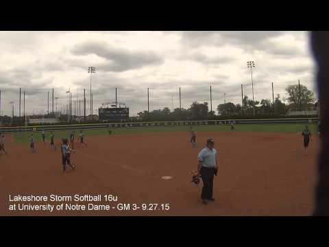Lakeshore Storm Softball 16u at University of Notre Dame Game 3