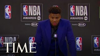 A Tearful Giannis Antetokounmpo Earns Most Valuable Player Honors At The NBA Awards | TIME