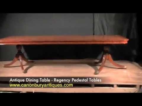 Antique Dining Table - Regency Pedestal Tables