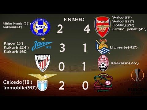 [score] uefa europa league: arsenal vs bate. zenit vs real sociedad. lazio live