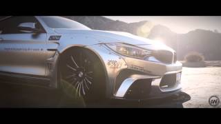 Liberty Walk BMW M4 wrapped in Satin silver chrome by Impressive Wrap (LB performance)