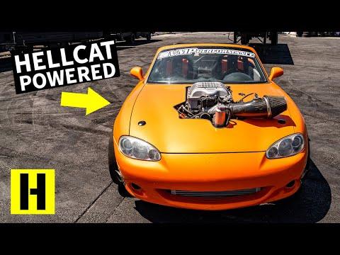 Dodge Hellcat Powered Mazda Miata Can do 6th Gear Burnouts!!
