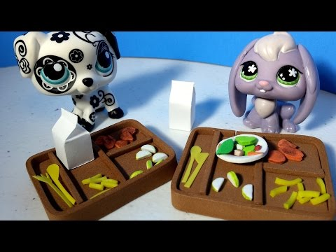 How to Make an LPS School Lunch Tray and Food w/ Plates and Cutlery: Doll DIY