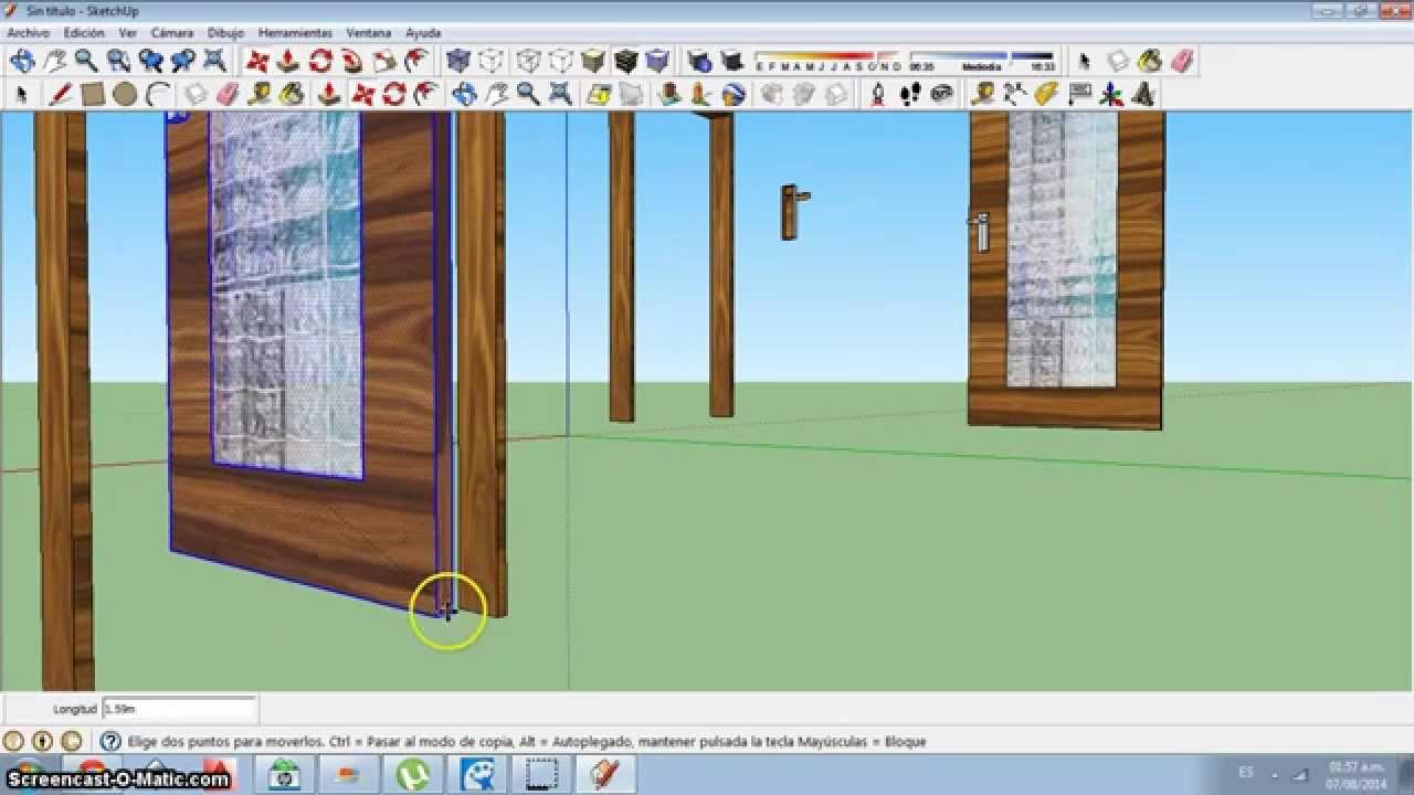 Como hacer una puerta y ventana en sketchup youtube for Como hacer una puerta corrediza casera