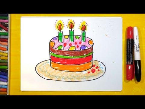 видео: Как нарисовать Торт, Урок рисования для детей от 3 лет | Раскраска для детей