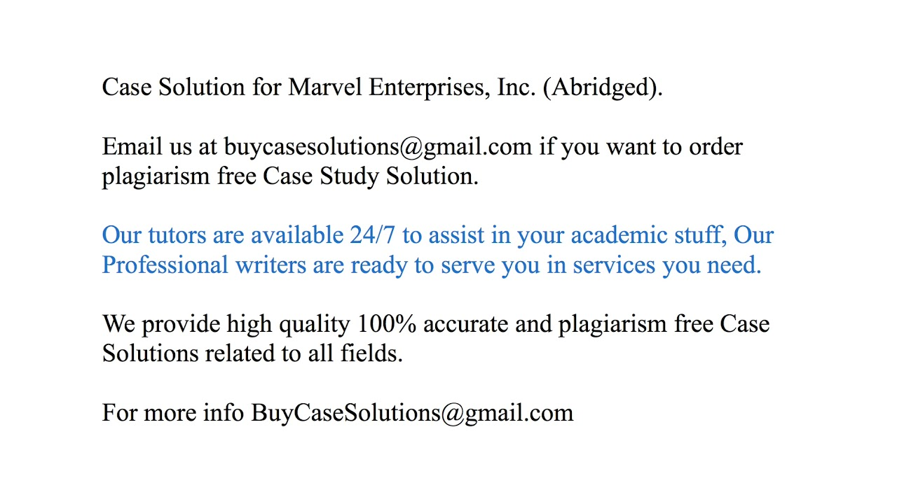marvel enterprises inc case study solution