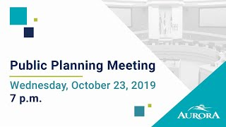 Youtube video::October 23, 2019 Council Public Planning Meeting