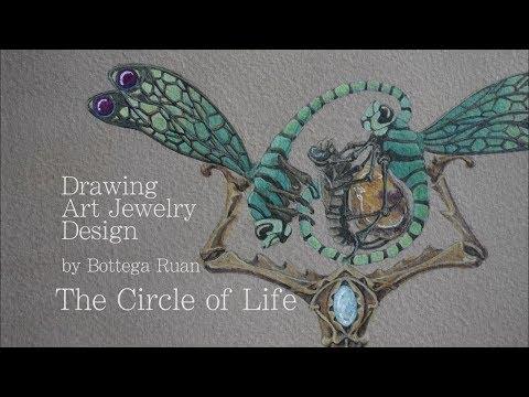 """【 ハンドメイド】デザイン画制作  解説ありver """"Circle of Life"""" Painting design by Bottega Ruan"""