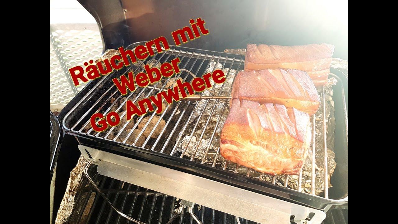 Weber Go Anywhere Holzkohlegrill Test : Bauchspeck räuchern mit weber go anywhere youtube