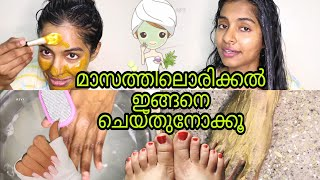 Chitchat|My monthly Haircare & Skincare manicure pedicure Routine - HairSpa At Home|Asvi Malayalam