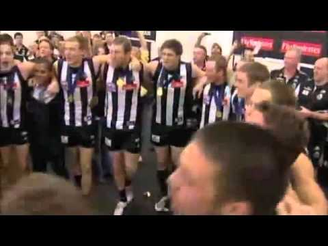 The Collingwood Magpies singing their theme song after winning the 2010 AFL Grand Final Replay