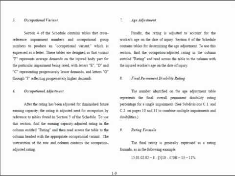Rating 101-3 Impairment number and rating formula