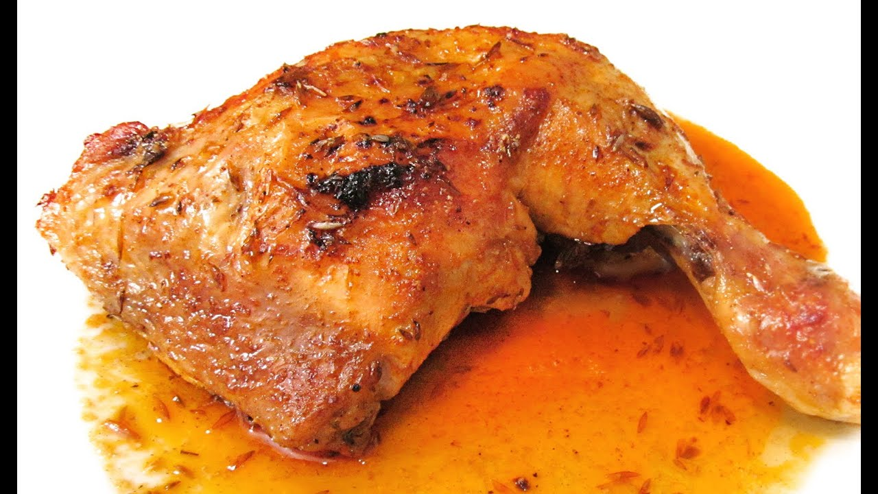 Muslos de pollo asado al horno con especias de adobo