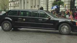 Watch Barack Obama's 'Beast' do a five-point turn in Downing Street