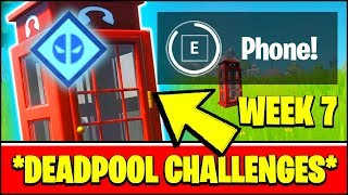 Enter a PHONE BOOTH to BECOME DEADPOOL LOCATIONS (Fortnite Deadpool Week 7 Challenges)