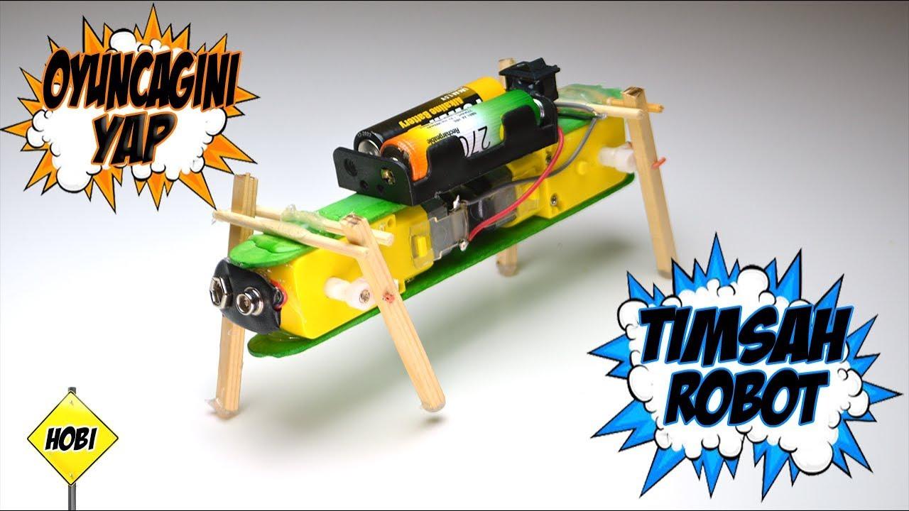Ev Yapımı Mini Eğlenceli Yürüyen  Robot & Kendi Oyuncağını Kendin Yap.
