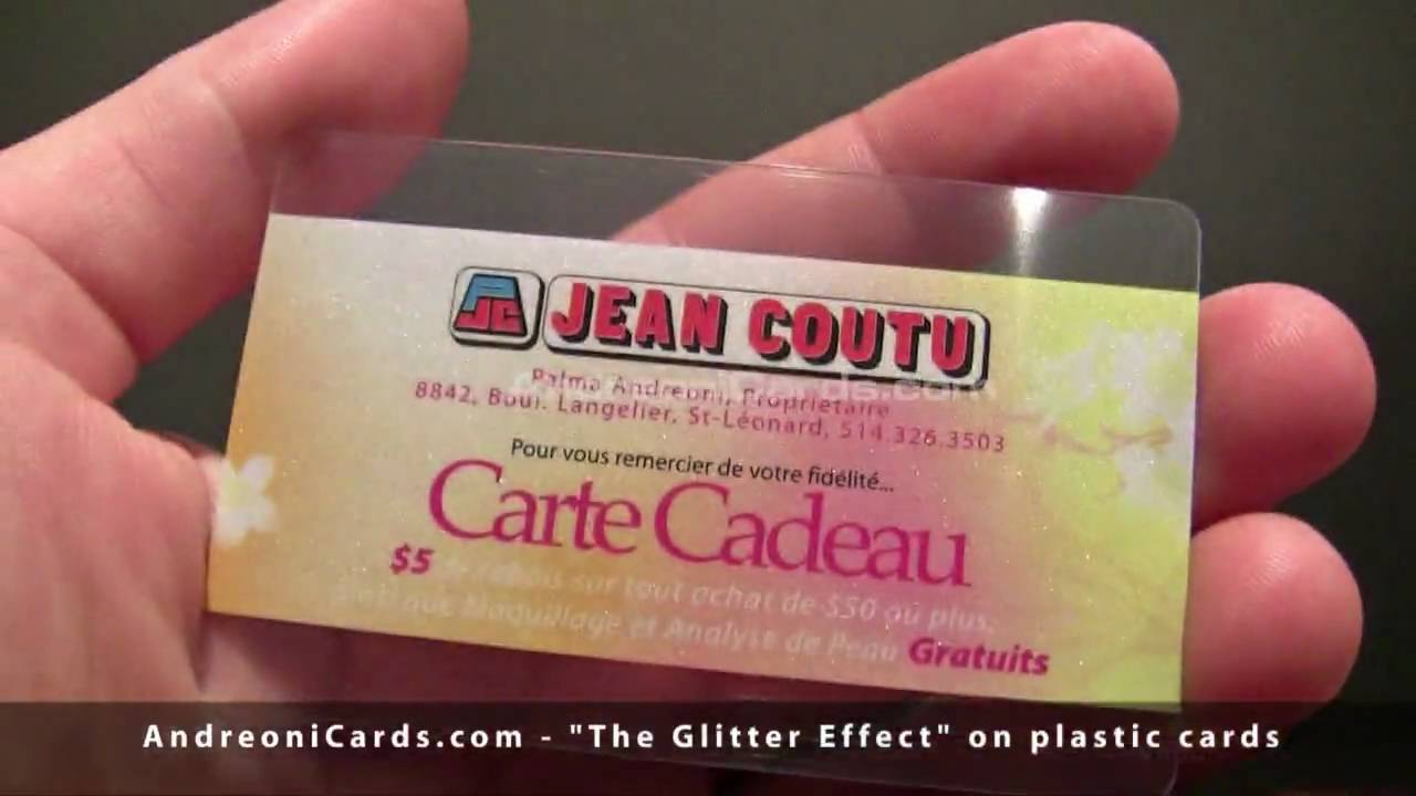 GLITTER effect of plastic cards and plastic business cards - YouTube