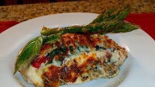 Roasted Red Pepper & Basil Stuffed Chicken