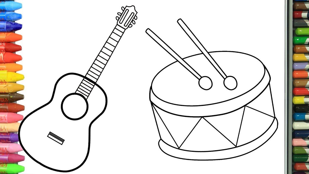 Cómo Dibujar Y Colorear Guitarra Y Tambor Dibujos Para Niños Aprender Colores