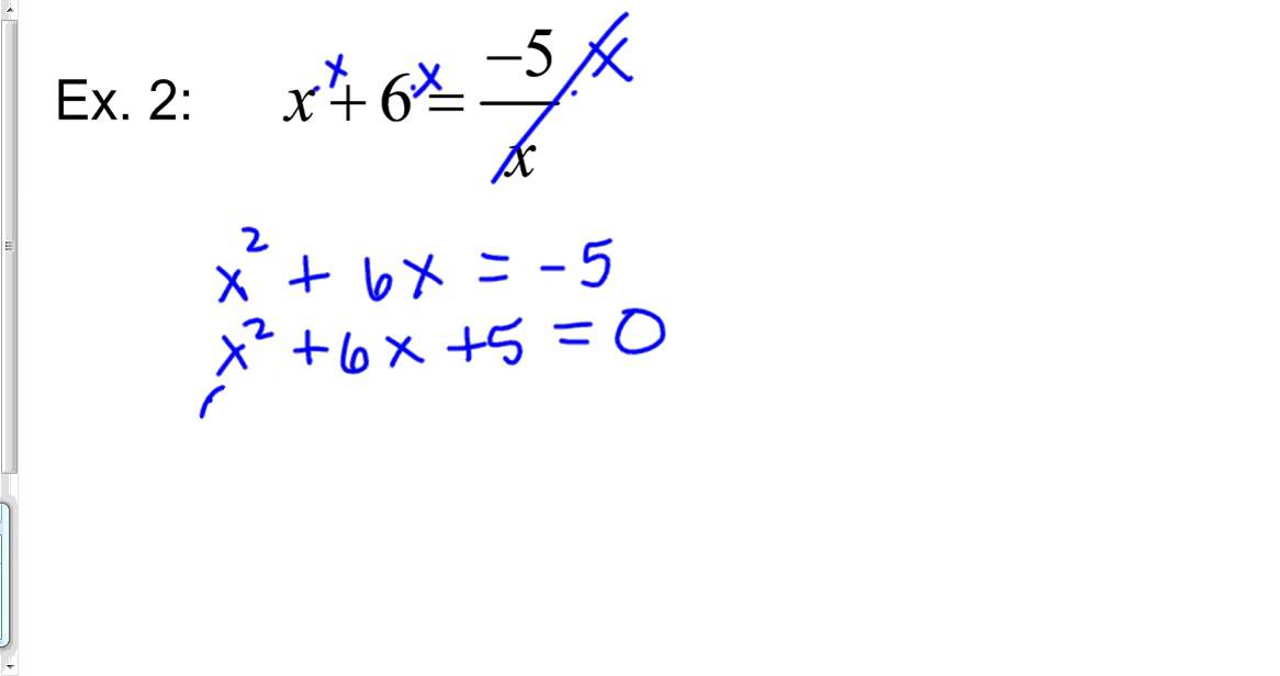 Lesson 8 6 Part 1 Solving Rational Equations Youtube