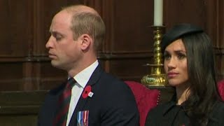 Meghan Markle Sits Next to Sleepy Prince William at Memorial Service