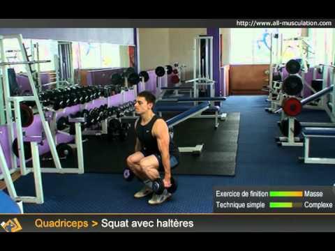 Exercices des squats avec haltères - YouTube
