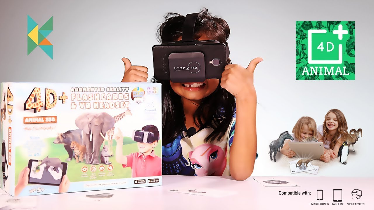 4D+ Utopia 360° Animal Zoo: Augmented Reality Cards & VR Headset
