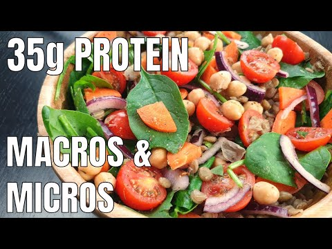 Lentil and Chickpea Salad | VEGAN LOW FAT SALAD RECIPE | HIGH PROTEIN