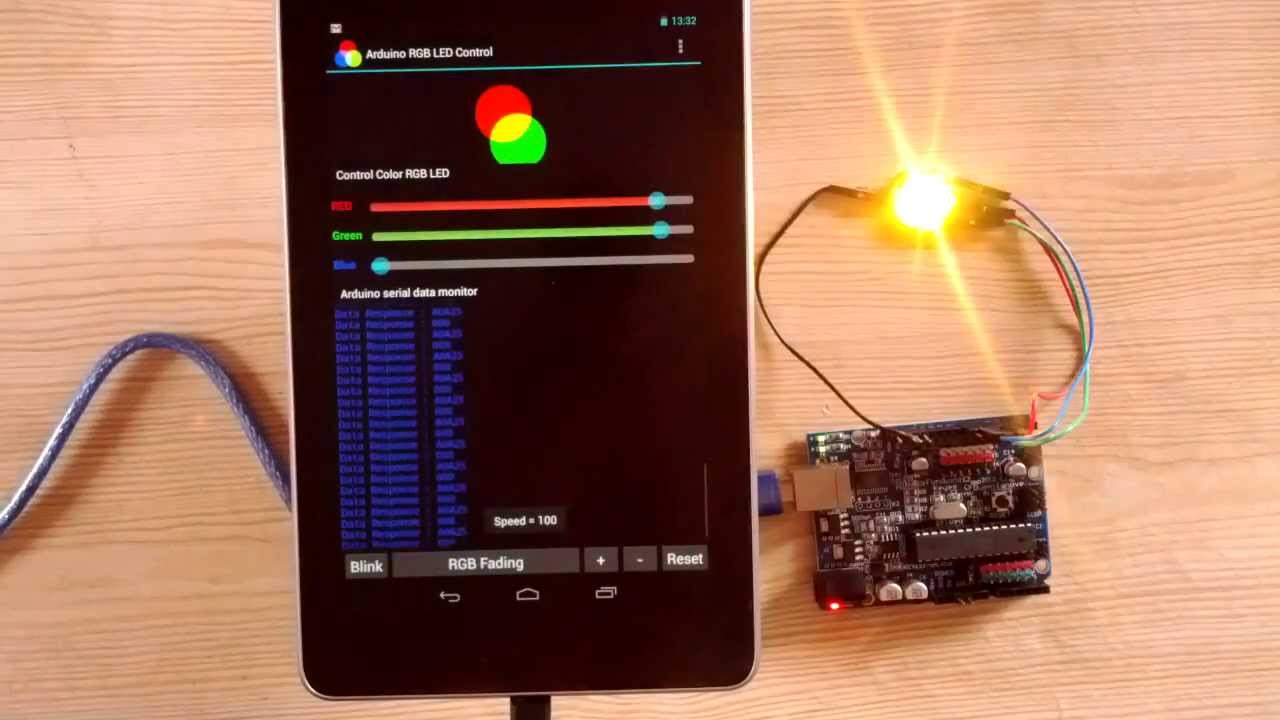 Android arduino usb control rgb led youtube