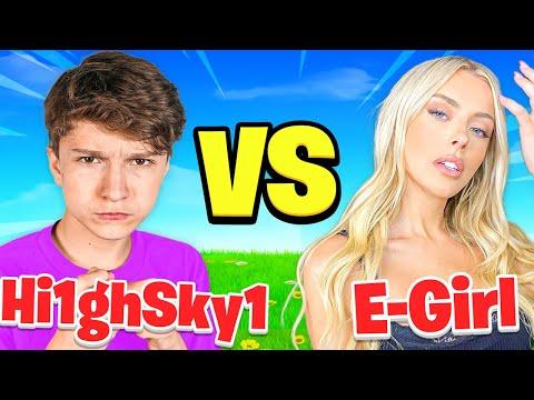 FaZe H1ghSky1 VS World's BEST E-Girl (Fortnite 1v1)