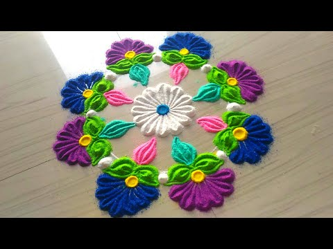 How to make rangoli designs for FESTIVAL'S /easy,small,quick & simple rangoli design by jyoti Rathod
