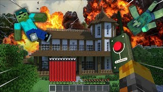 MARK FRIENDLY ZOMBIE BLOWS UP HOUSE WITH EXPLOSIVES MOD  NUKE SURVIVAL  Minecraft