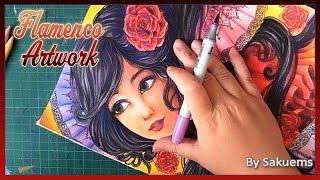 """""""Flamenco""""- Watercolors, Copic Markers and Colored pencil original artwork + Q&A part 2"""