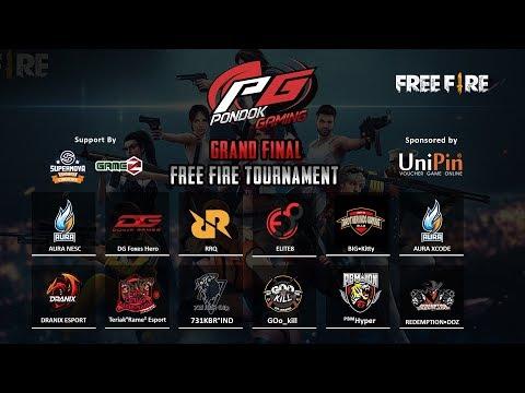 Live Final Day Pondok Gaming Free Fire Tournament Aura Nesc Aura Xcode Rrq Dg Dranix Dll