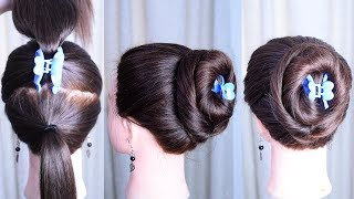 New Big Bun hairstyle with Clutcher for Thin hair | thin hair hairstyle | hair style girl