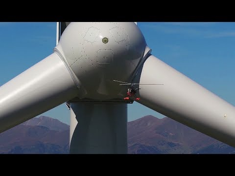 Wind turbine inspection with drone and damage analysis