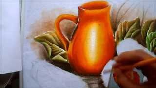 Como pintar jarro amarelo em tecido