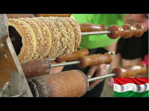 Kurtos Kalacs Street Food from Hungary. Tasted at World Food Parade, Turin, Italy