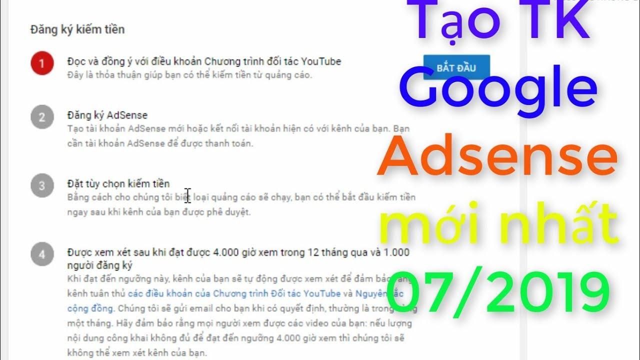 Chỉ 5 phút để tạo tài khoản Adsense mới nhất – Kiếm tiền youtube