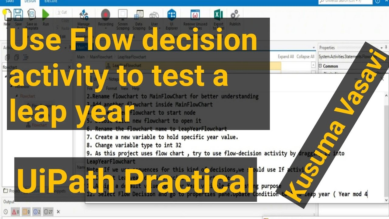 UIPath Practical example-Use Flow decision activity use to test a leap year