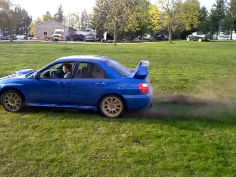 Subaru burnout on lawn