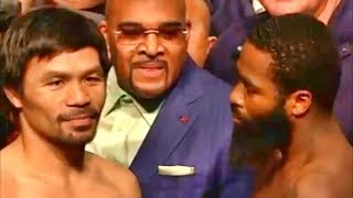Manny Pacquiao vs. Adrien Broner INTENSE weigh in 24 hours before their fight