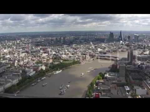 Flight Down the Thames. Summer 2014. London Aerial HD footage