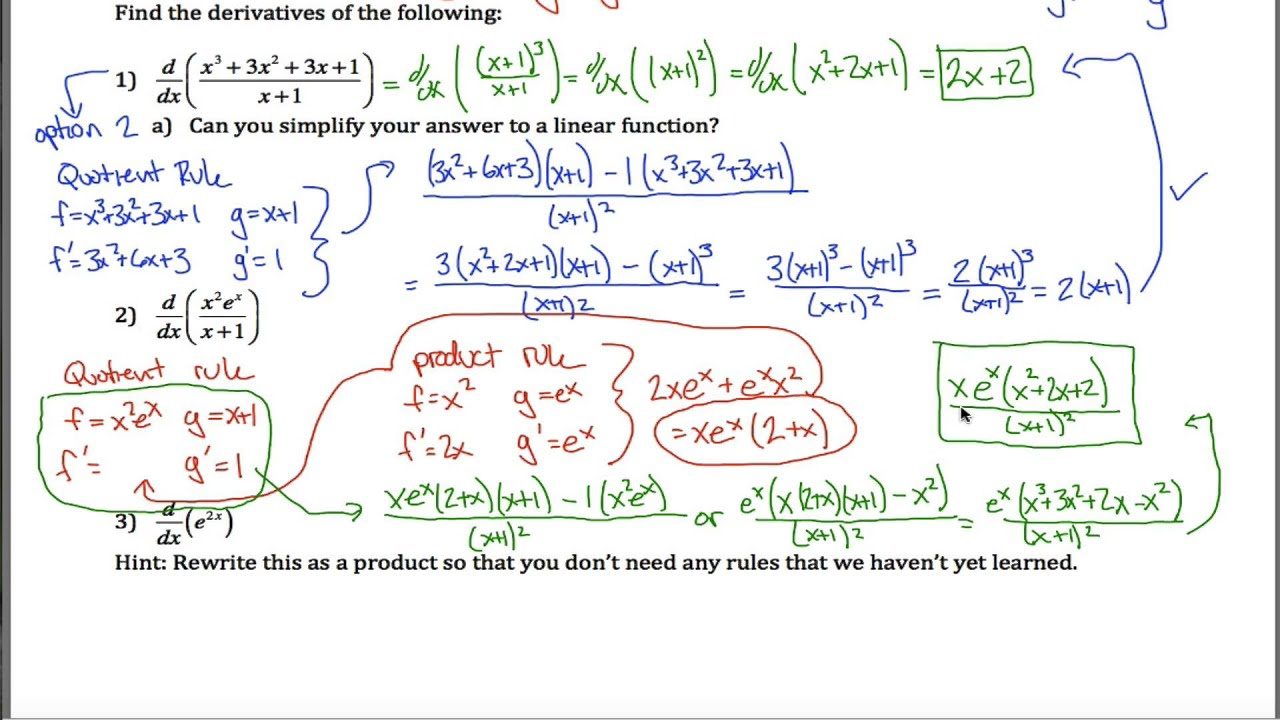 Hard Product And Quotient Rule Worksheet Youtube
