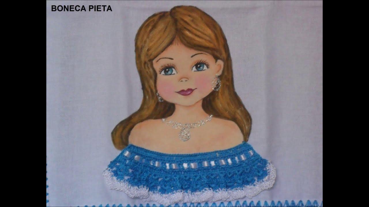 Populares Pinturas - Bonecas Pintadas com vestido de crochê - YouTube VD32